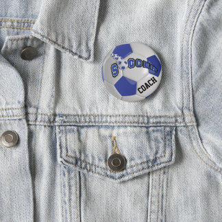 Badge Rond 5 Cm Le ballon de football folâtre | bleu-foncé