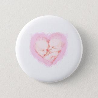 Badge Rond 5 Cm Le bébé d'aquarelle jumelle le baby shower
