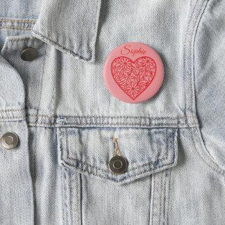 Badge Rond 5 Cm Le coeur rouge Personnalised de Valentine