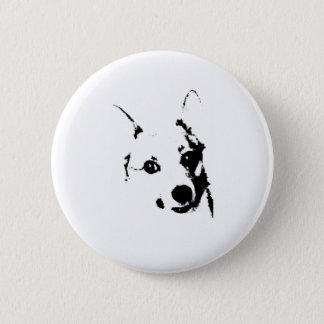 Badge Rond 5 Cm Le corgi poursuit le croquis noir et blanc d'encre