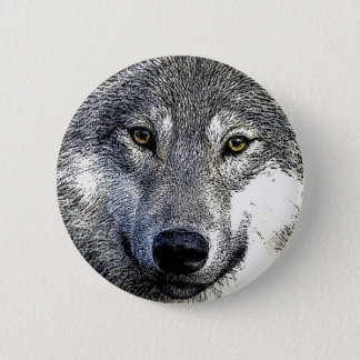 Badge Rond 5 Cm Le loup observe l'illustration
