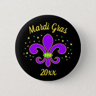Badge Rond 5 Cm Le mardi gras Fleur-De-lis ajoute l'année