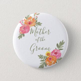 Badge Rond 5 Cm Le mariage de ressort fleurit la mère du marié