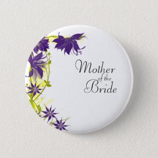 Badge Rond 5 Cm Le mariage pourpre d'île fleurit la mère de la