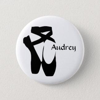Badge Rond 5 Cm Le noir Pointe de ballerine de ballet chausse le