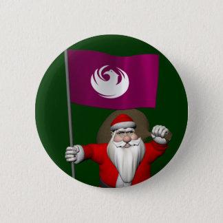Badge Rond 5 Cm Le père noël avec le drapeau de Phoenix
