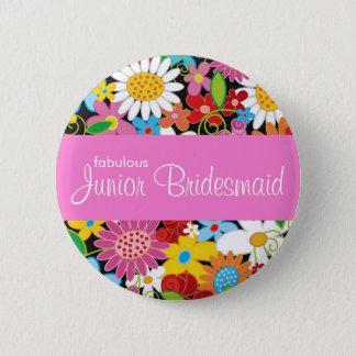 Badge Rond 5 Cm Le ressort fleurit épousant l'étiquette junior de
