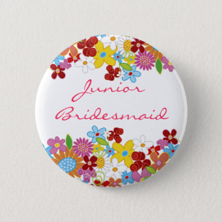 Badge Rond 5 Cm Le ressort fleurit l'étiquette JUNIOR de nom de