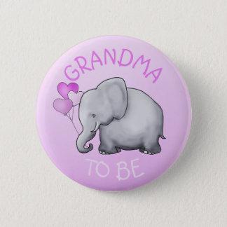 Badge Rond 5 Cm Le rose monte en ballon l'éléphant que le baby