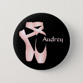 Badge Rond 5 Cm Le rose Pointe de ballerine de ballet chausse le