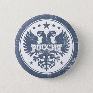 Badge Rond 5 Cm Le Russe deux a dirigé le symbole d'Eagle