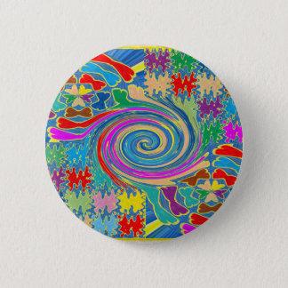 Badge Rond 5 Cm Le tourbillon ondule les graphiques décoratifs