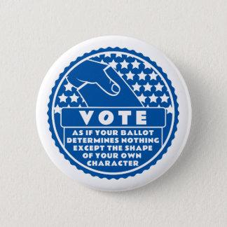 Badge Rond 5 Cm Le vote montre votre caractère -- Bleu et blanc