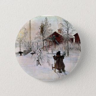 Badge Rond 5 Cm Le yard et le Lavage-House, Carl Larsson