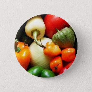 Badge Rond 5 Cm Légumes de Salsa, tomate, poivrons, oignon