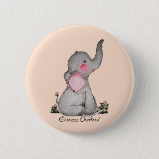 Badge Rond 5 Cm L'éléphant mignon de bébé d'aquarelle avec