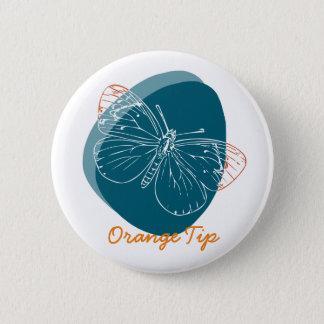 Badge Rond 5 Cm Les années 50 turquoises de papillon orange de