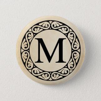 Badge Rond 5 Cm Lettre MU d'alphabet grec