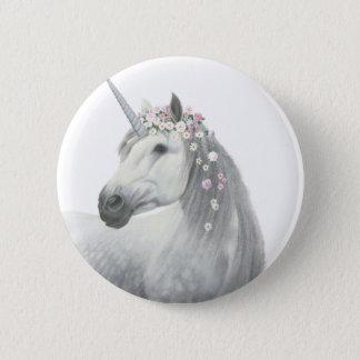 Badge Rond 5 Cm Licorne d'esprit avec des fleurs dans la crinière
