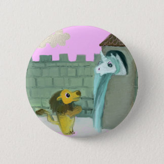 Badge Rond 5 Cm Licorne et lion