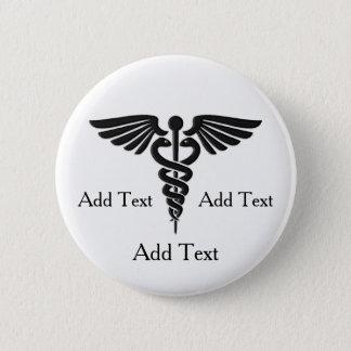 Badge Rond 5 Cm Lignes médicales texte du caducée 3 de coutume