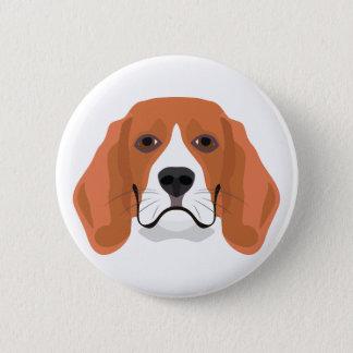 Badge Rond 5 Cm L'illustration poursuit le beagle de visage