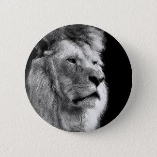 Badge Rond 5 Cm Lion blanc noir