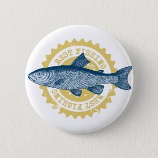 """Badge Rond 5 Cm Logo de pêche de truite de la """"meilleure pêche"""","""