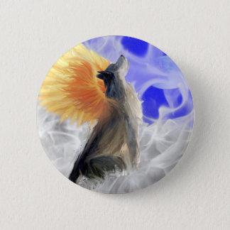 Badge Rond 5 Cm Loup de Phoenix