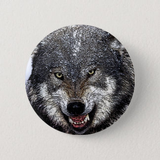 Badge Rond 5 Cm Loup sauvage