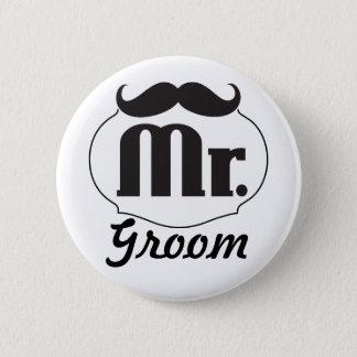 Badge Rond 5 Cm M. Groom Black Hipster Mustache