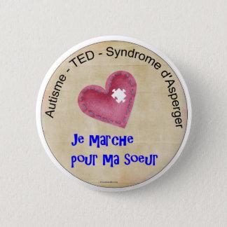 Badge Rond 5 Cm Macaron Je marche pour ma soeur