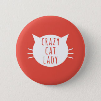Badge Rond 5 Cm Madame folle Funny Button Red de chat