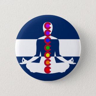 Badge Rond 5 Cm Magasin de méditation du Colorado Chakra