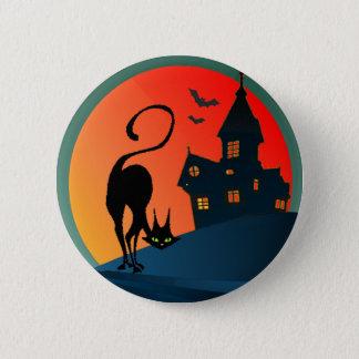Badge Rond 5 Cm MAISON, ARAIGNÉE, WEB et CAT HANTÉS par SHARON