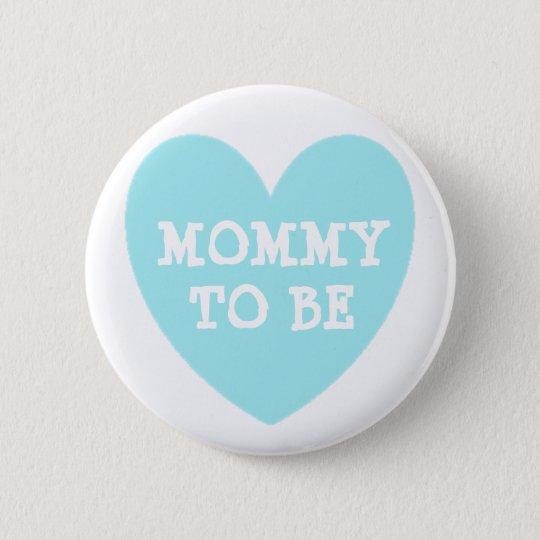 Badge Rond 5 Cm Maman à être bouton bleu en pastel de baby shower