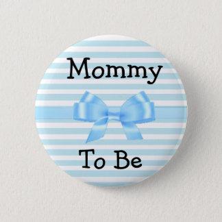 Badge Rond 5 Cm Maman à être bouton bleu et blanc de baby shower