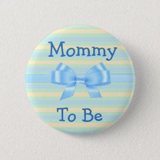 Badge Rond 5 Cm Maman à être bouton bleu et orange de baby shower