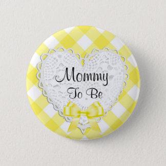 Badge Rond 5 Cm Maman à être bouton jaune de baby shower