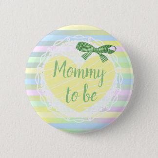 Badge Rond 5 Cm Maman à être bouton jaune et vert de baby shower