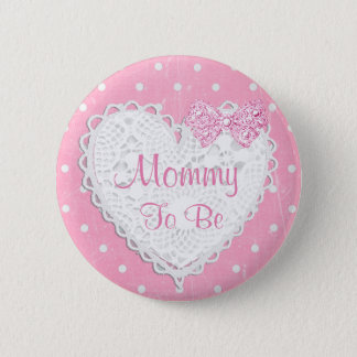 Badge Rond 5 Cm Maman à être bouton rose de baby shower de point