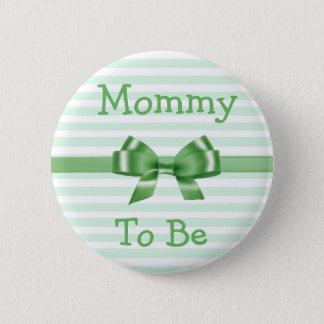 Badge Rond 5 Cm Maman à être bouton vert et blanc de baby shower