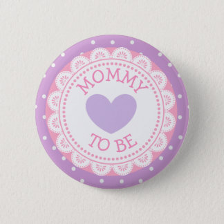 Badge Rond 5 Cm Maman pourpre et rose de point de polka à être