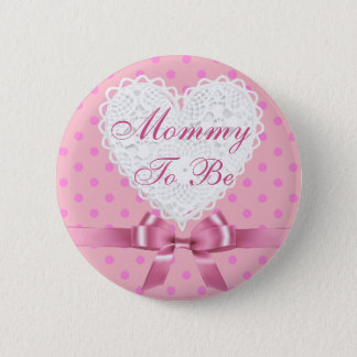 Badge Rond 5 Cm Maman rose de point de polka à être bouton de baby