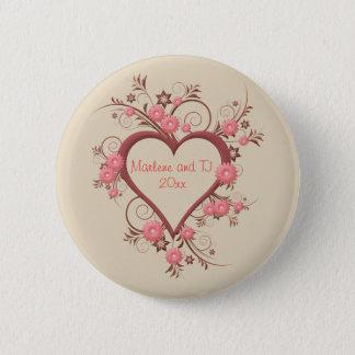 Badge Rond 5 Cm Marguerite et coeur ouvert dans complexe et