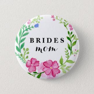 Badge Rond 5 Cm Mariage de la maman de la jeune mariée florale de