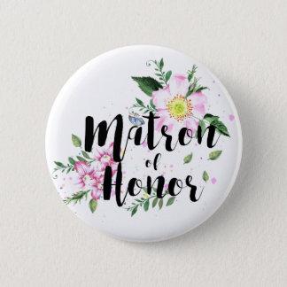 Badge Rond 5 Cm Mariage floral d'aquarelle de dame de honneur