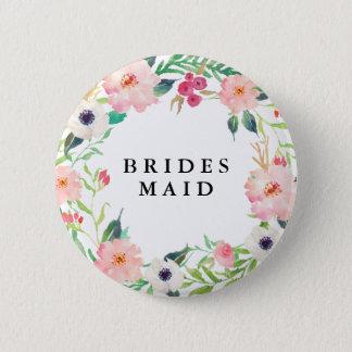 Badge Rond 5 Cm Mariage floral de demoiselle d'honneur de ressort
