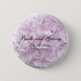 Badge Rond 5 Cm Mariage rose doux d'hortensia