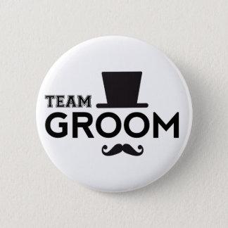 Badge Rond 5 Cm Marié d'équipe avec le casquette et la moustache